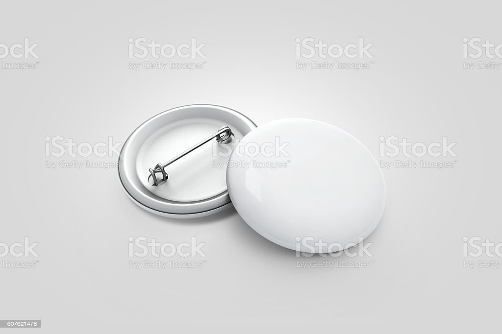 Blank white button badge stack mockup, isolated on grey, - foto de stock