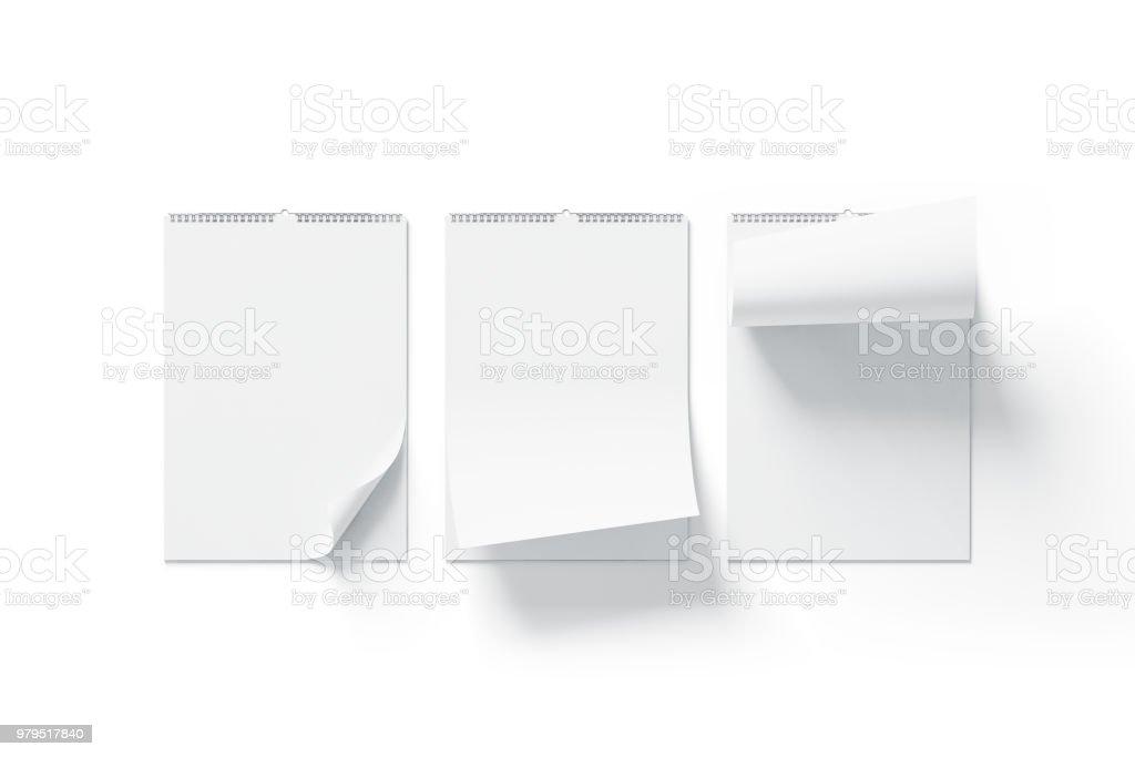 Leeren weißen Kalender mock-up Vorderansicht, abgerundeten Ecken set – Foto