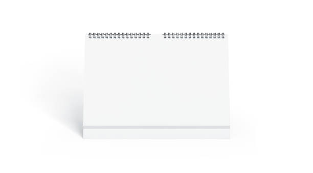 Blank white calendar mock up front view, isolated Blank white calendar mock up front view, isolated, 3d rendering. Empty desk calendar mockup with metal spirals. Clear table calender template. Landscape horizontal almanac almanac stock pictures, royalty-free photos & images