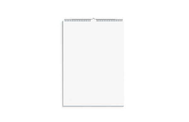 blank white calendar mock up front view, isolated - calendar stock pictures, royalty-free photos & images