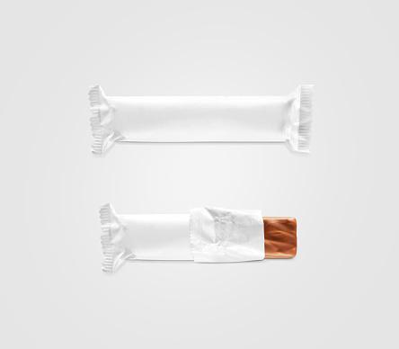 Blank white candy bar plastic wrap mockup isolated.