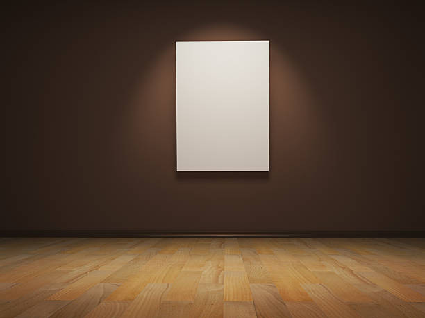 Royalty free art gallery or museum walls with blank canvas blank white canvas on empty wall stock photo sciox Images