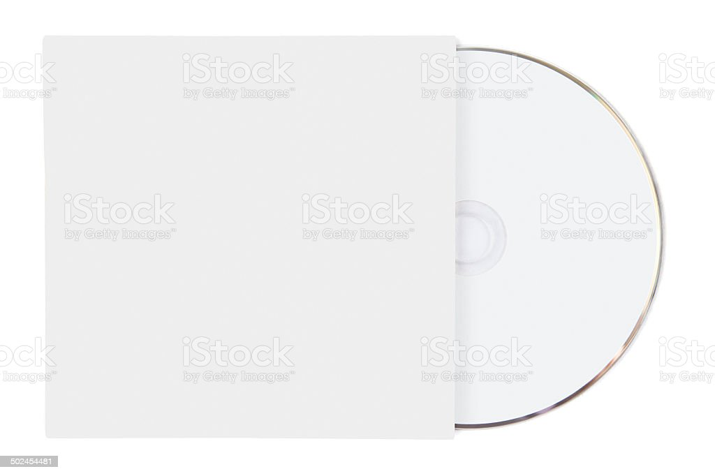 Blank White Cardboard CD Sleeve with Disc stock photo