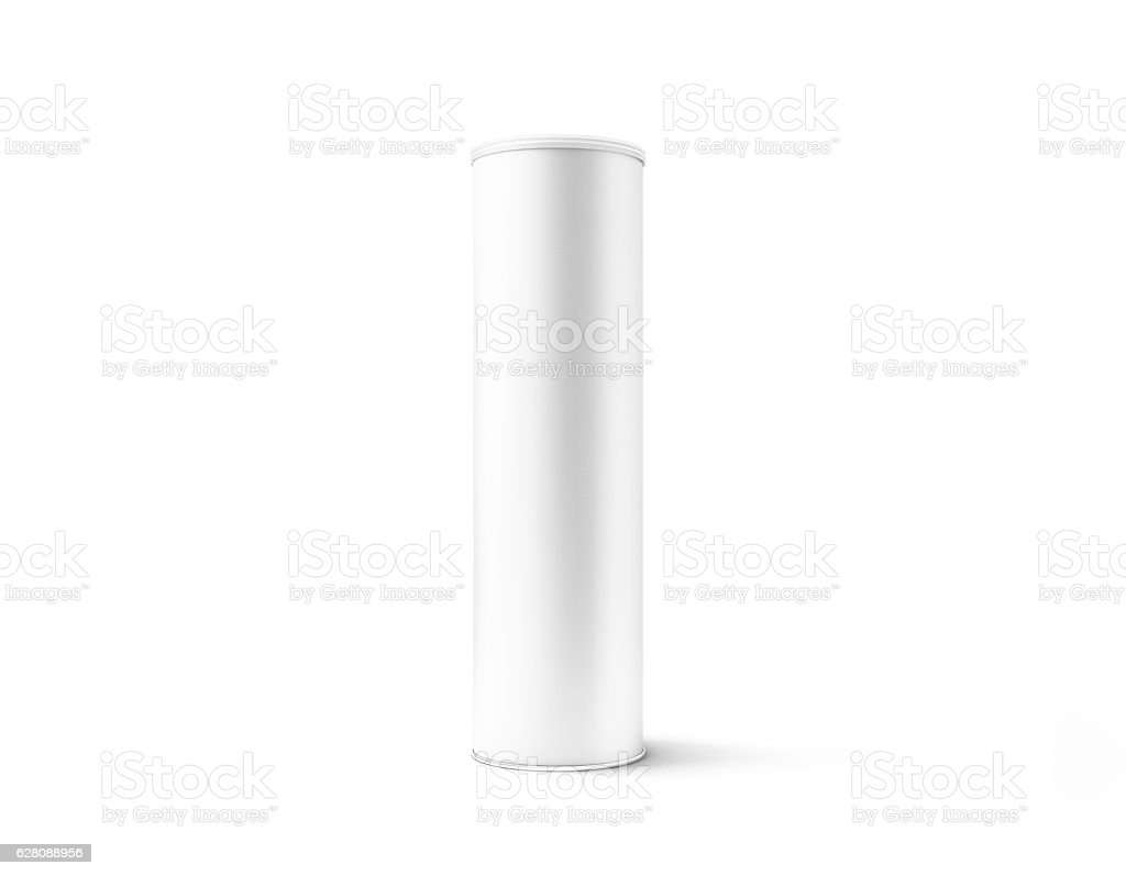 Blank white cardboard cylinder box mockup with plastic lid stock photo