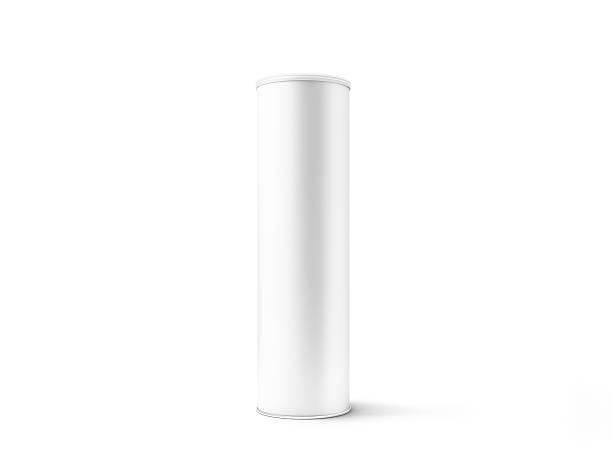 Blank white cardboard cylinder box mockup with plastic lid stock photo