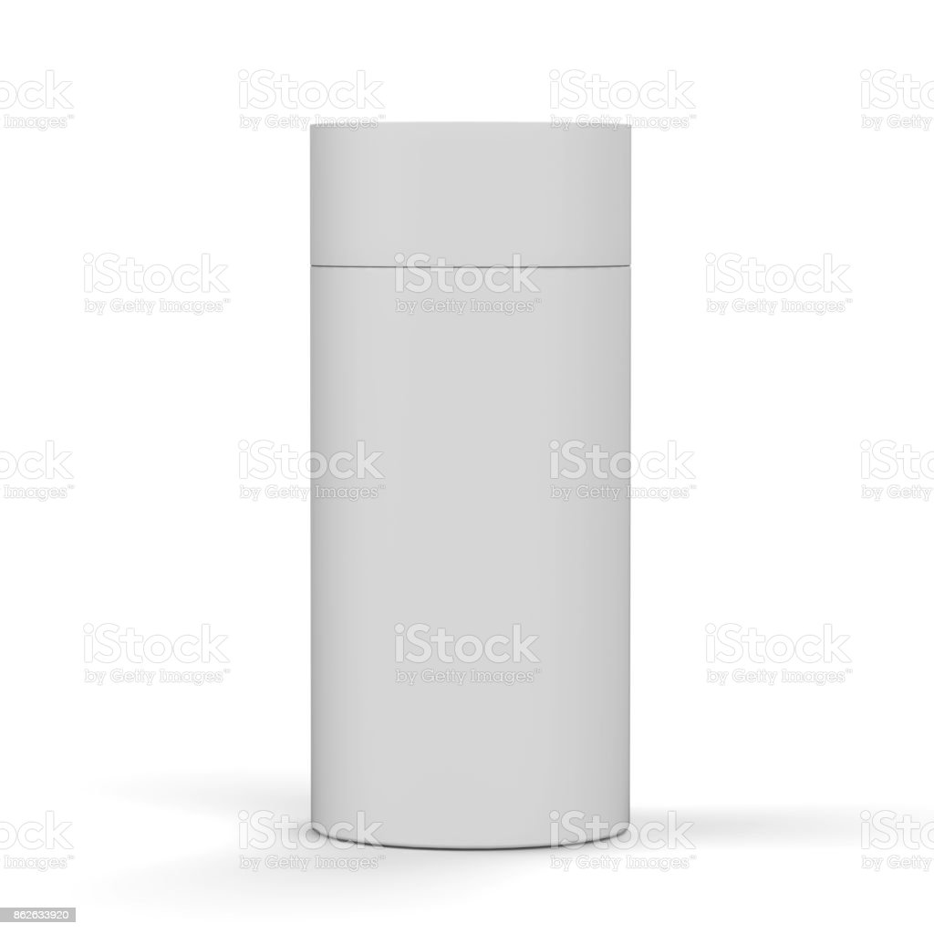 Blank White Cardboard Product Package, Round Container Box for mock up and template design. 3D Illustration stock photo