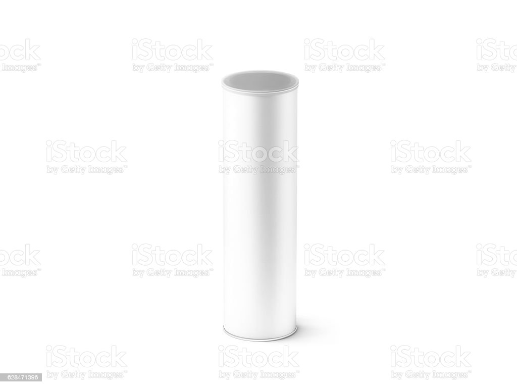 Blank white carton cylinder box mockup, isolated stock photo