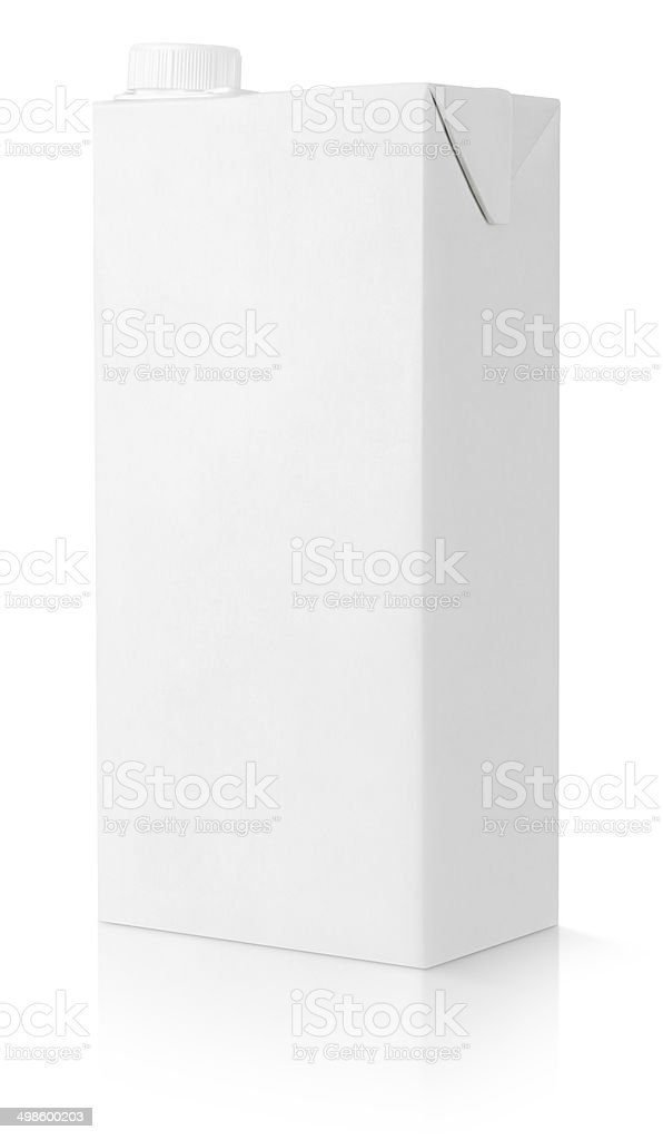 Blank white carton package of juice stock photo