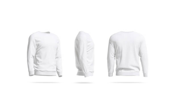 Blank white casual sweatshirt mock up, side and back view stock photo