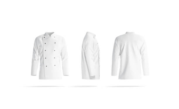 Blank white chef jacket with buttons mock up, different sides stock photo