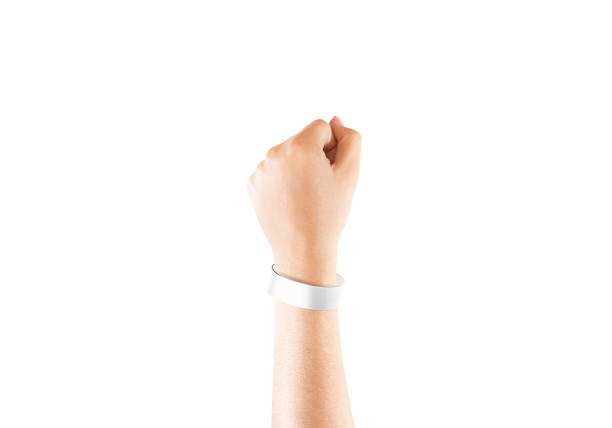 Blank white chroma luxe bracelet mockup on hand, isolated Blank white chroma luxe bracelet mockup on hand, isolated. Clear cuff band mock up design. Fashion sweatband template wear on wrist arm. Stainless round chromaluxe wristband wear. wristband stock pictures, royalty-free photos & images