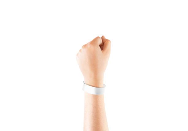 blank white chroma luxe bracelet mockup on hand, isolated - браслет стоковые фото и изображения