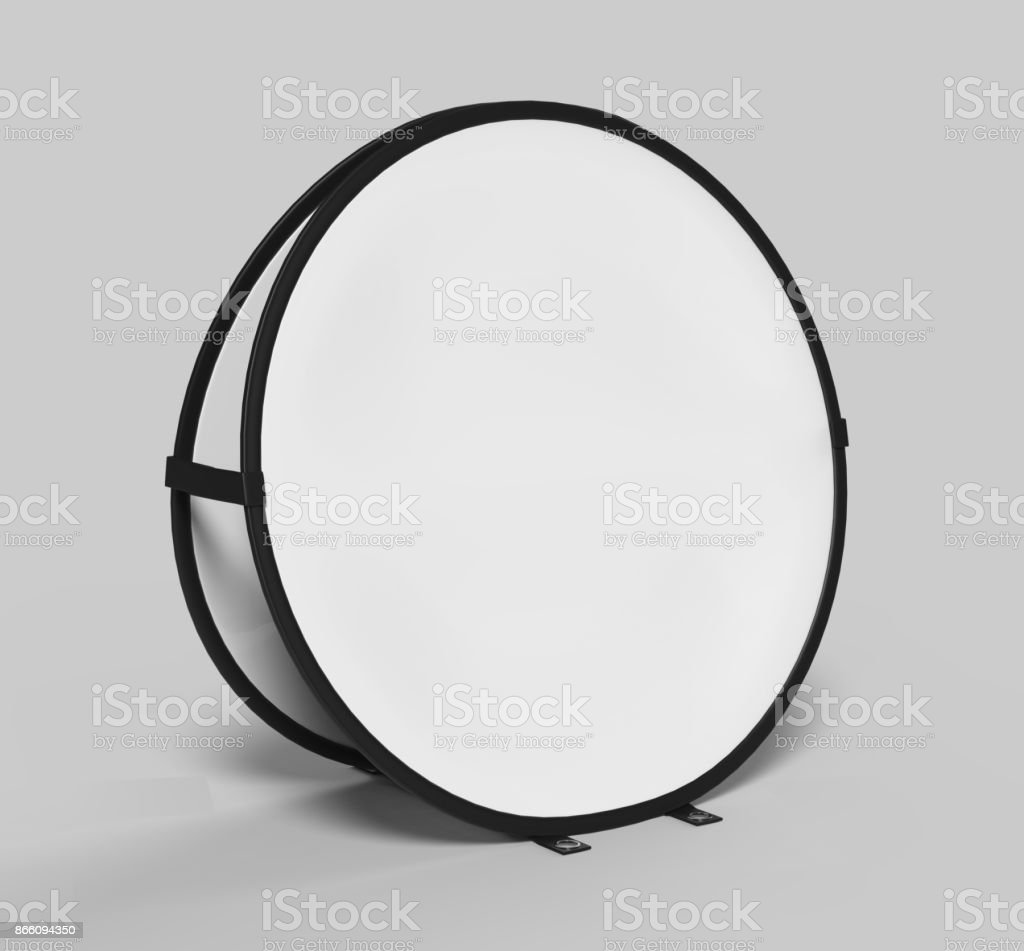 Blank white circle frame  pop up advertising Banner are ideal for outdoor sporting display event branding. Portable lightweight system. 3d render illustration. stock photo