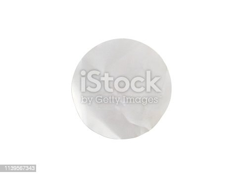 istock Blank white circle paper sticker label isolated on white background with clipping path 1139567343