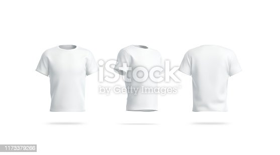 Blank white clean tshirt mockup, front, side and back view, 3d rendering. Empty footbal wear mock up, isolated. Clear cotton tee. Classic sport model for logo print template.