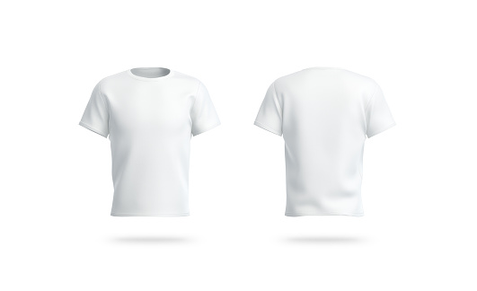Blank white clean t-shirt mockup, isolated, front and back side view, 3d rendering. Empty casual tshirt model mock up. Clear socer dress for label print template mokcup.