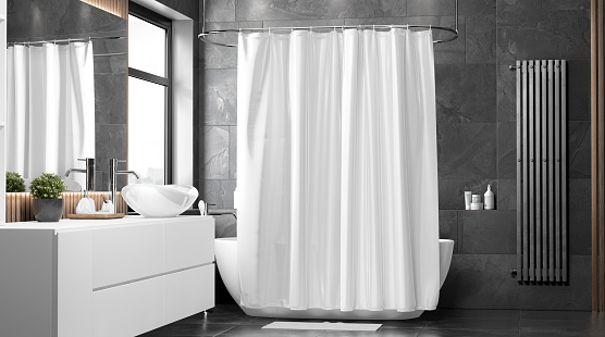 Blank white closed shower curtain mock up, front view, 3d rendering. Empty toilet apartment with bath curtai mockup. Screen blind slip on ensuite in indoor furniture template.