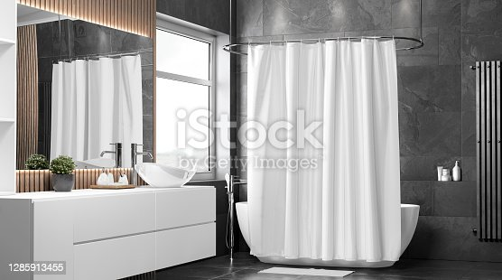 Blank white closed shower curtain mockup, half-turned view, 3d rendering. Empty liner shade in bathroom interior mock up. Clear waterproof polyester cover with buttonholes for bath decor template.