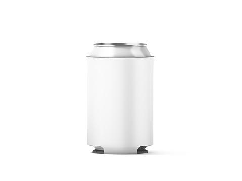 Blank white collapsible beer can koozie mockup isolated, 3d rendering. Empty neoprene cooler holder mock up for tin beverage. Plain drinkware hugger design template. Clear fizzy pop soda sleeve.