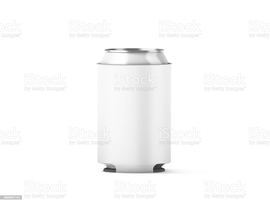 Blank white collapsible beer can koozie mockup isolated stock photo