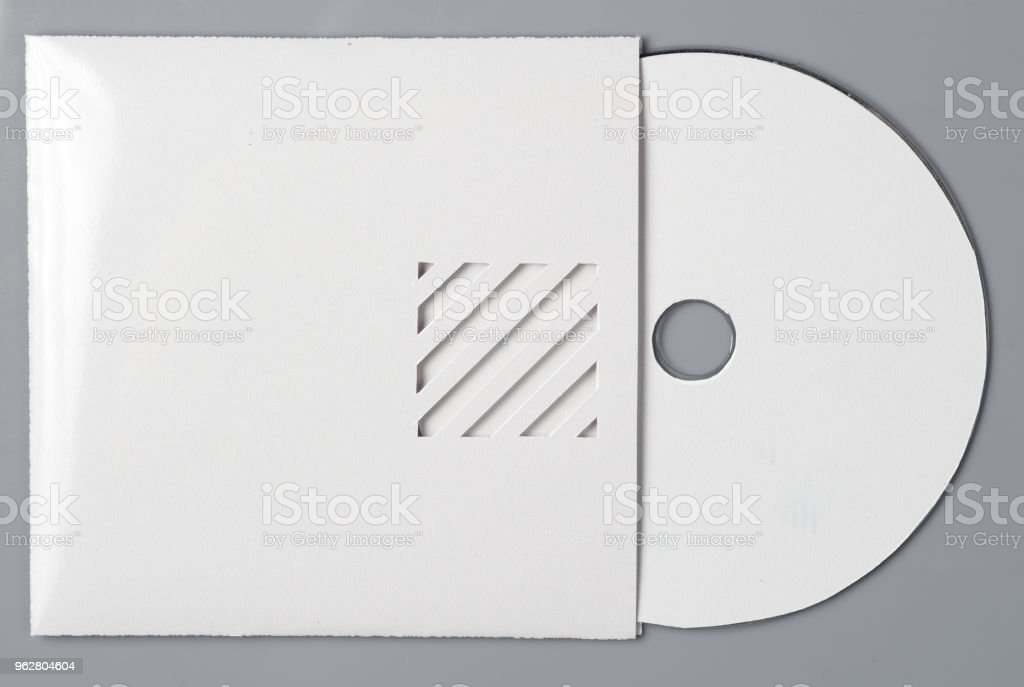 blank white compact disk with cover isolated on grey stock photo