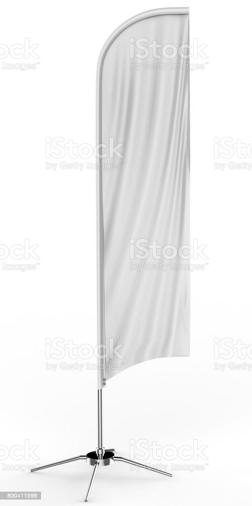Blank white concave feather flag outdoor advertising shield flag banner or vertical wind banner mock up template isolated on white background. stock photo
