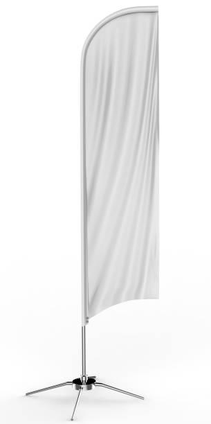 drapeau blanc plume concave blanc extérieur publicité bannière drapeau bouclier ou une bannière vertical du vent simulé modèle isolé sur fond blanc. - concave photos et images de collection