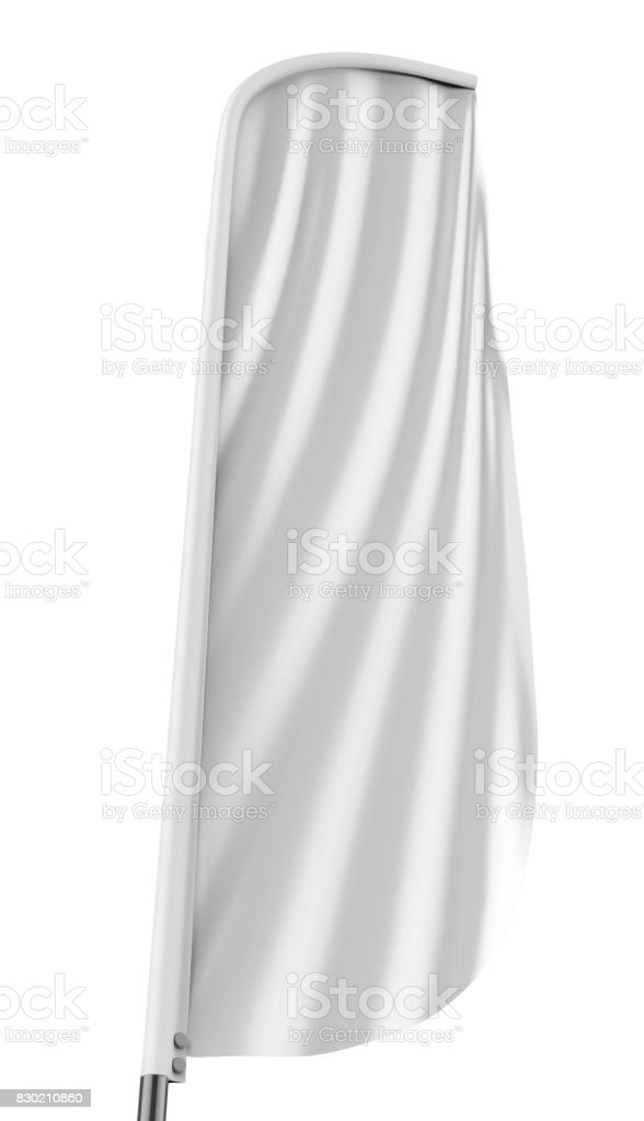 Blank white convex feather flag outdoor advertising shield flag banner or vertical wind banner mock up template isolated on white background. stock photo