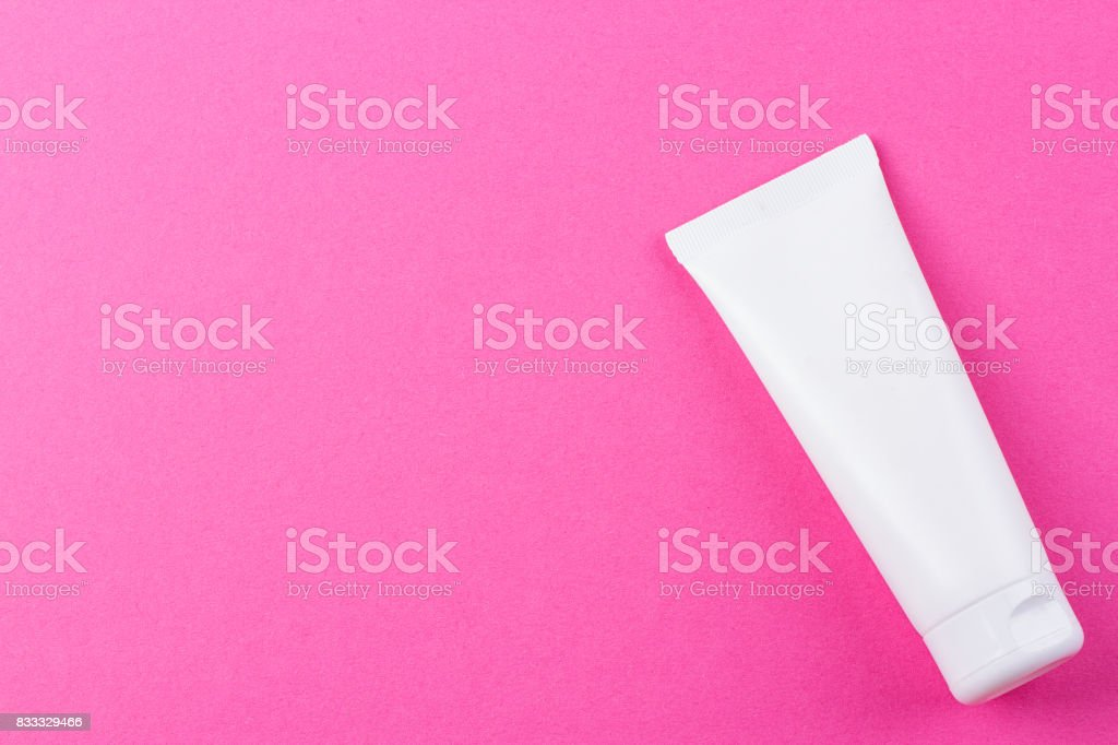 Blank white cosmetic tube pack Of Cream Or Gel stock photo