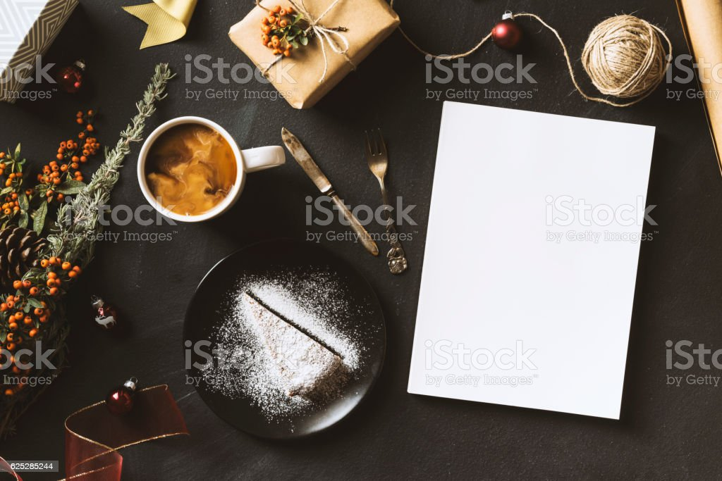 Blank white cover magazine, cake and cofee, Christmas flat lay stock photo