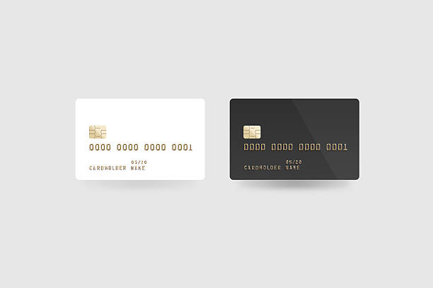 Blank white credit card mockup isolated, clipping path, front back stock photo
