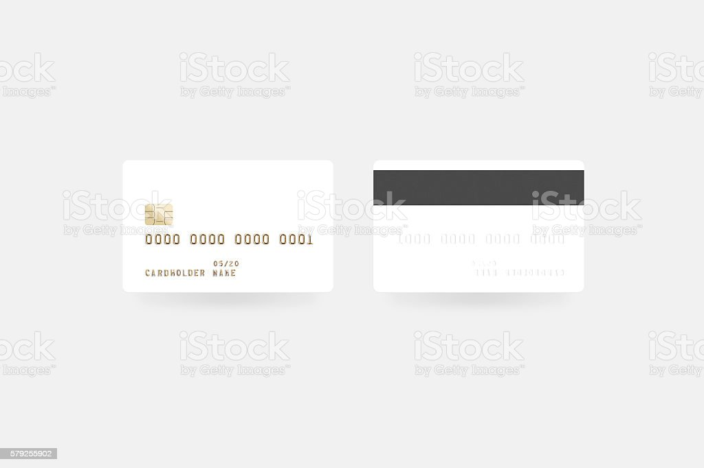 Blank white credit card mockup isolated, clipping path, front stock photo