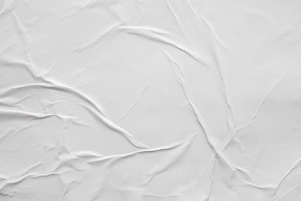 빈 흰색 구겨진 주름진 종이 포스터 텍스처 배경 - 주름 뉴스 사진 이미지