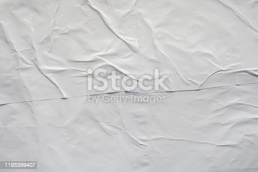 1184990536istockphoto Blank white crumpled and creased paper poster texture background 1193399407