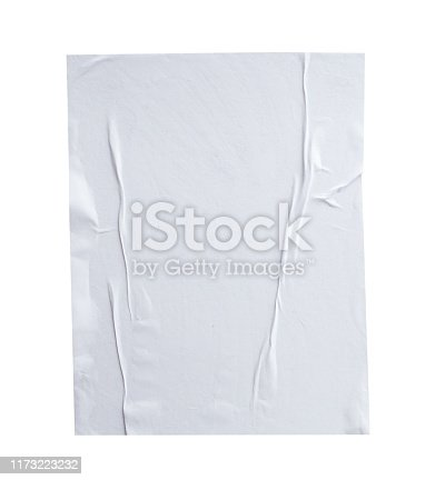 istock Blank white crumpled and creased paper poster texture isolated on white background 1173223232