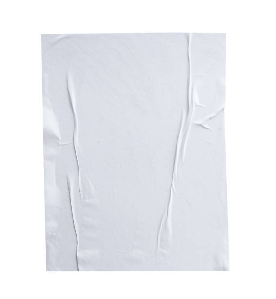 blank white crumpled and creased paper poster texture isolated on white background - sticky stock pictures, royalty-free photos & images