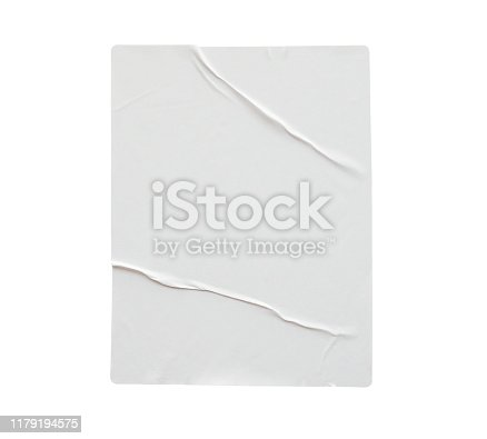 istock Blank white crumpled and creased paper poster texture isolated on white background 1179194575