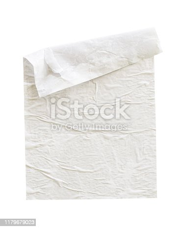 1173163236istockphoto Blank white crumpled and creased paper poster texture isolated on white background 1179679023