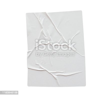 1173163236istockphoto Blank white crumpled and creased paper poster texture isolated on white background 1183846158