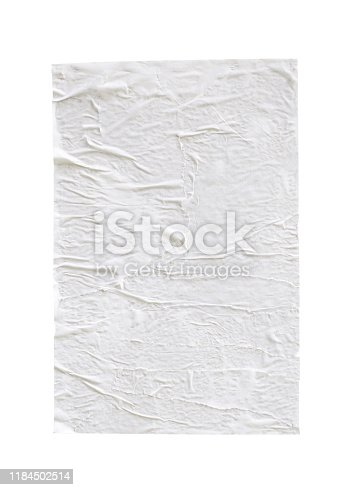 1173163236istockphoto Blank white crumpled and creased paper poster texture isolated on white background 1184502514