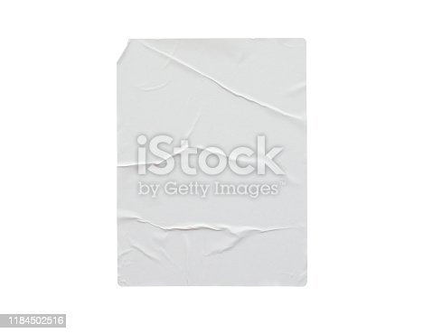 1173163236istockphoto Blank white crumpled and creased paper poster texture isolated on white background 1184502516