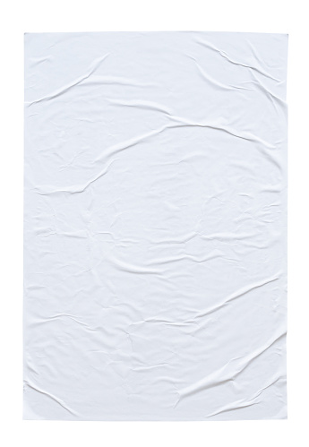 istock Blank white crumpled and creased paper poster texture isolated on white background 1184990538
