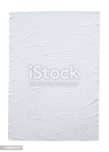 1173163236istockphoto Blank white crumpled and creased paper poster texture isolated on white background 1186604207