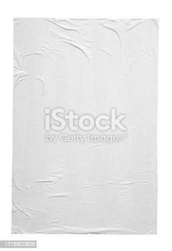 istock Blank white crumpled and creased paper poster texture isolated on white background 1215820925