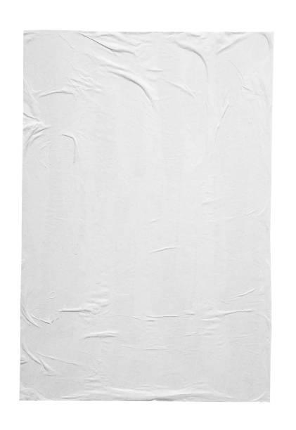 흰색 배경에 격리 된 빈 흰색 구겨진 주름진 종이 포스터 텍스처 - 주름 뉴스 사진 이미지