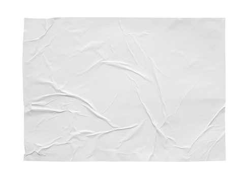 istock Blank white crumpled and creased sticker paper poster texture isolated on white background 1173163236