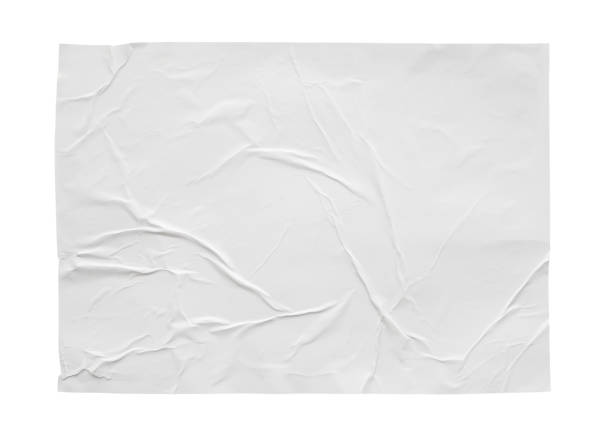 blank white crumpled and creased sticker paper poster texture isolated on white background - poster stock pictures, royalty-free photos & images