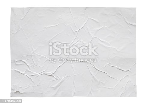 istock Blank white crumpled and creased sticker paper poster texture isolated on white background 1175357999