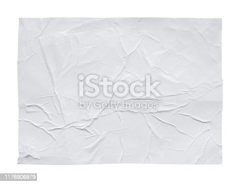 istock Blank white crumpled and creased sticker paper poster texture isolated on white background 1176906979