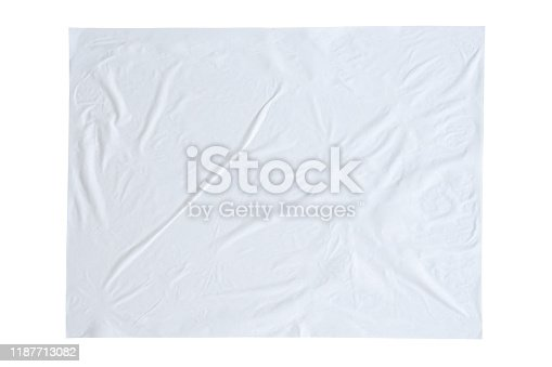 1173163236istockphoto Blank white crumpled and creased sticker paper poster texture isolated on white background 1187713082